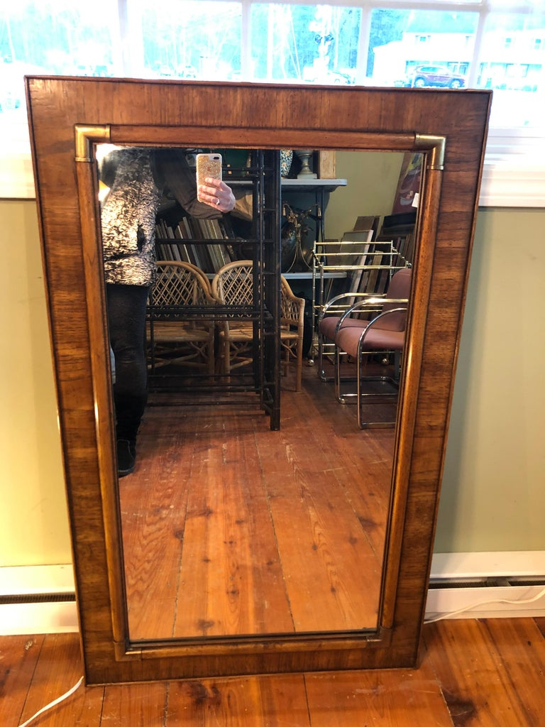 Mid-Century Modern Drexel Heritage Faux Bamboo Mirror with Brass Accents For Sale
