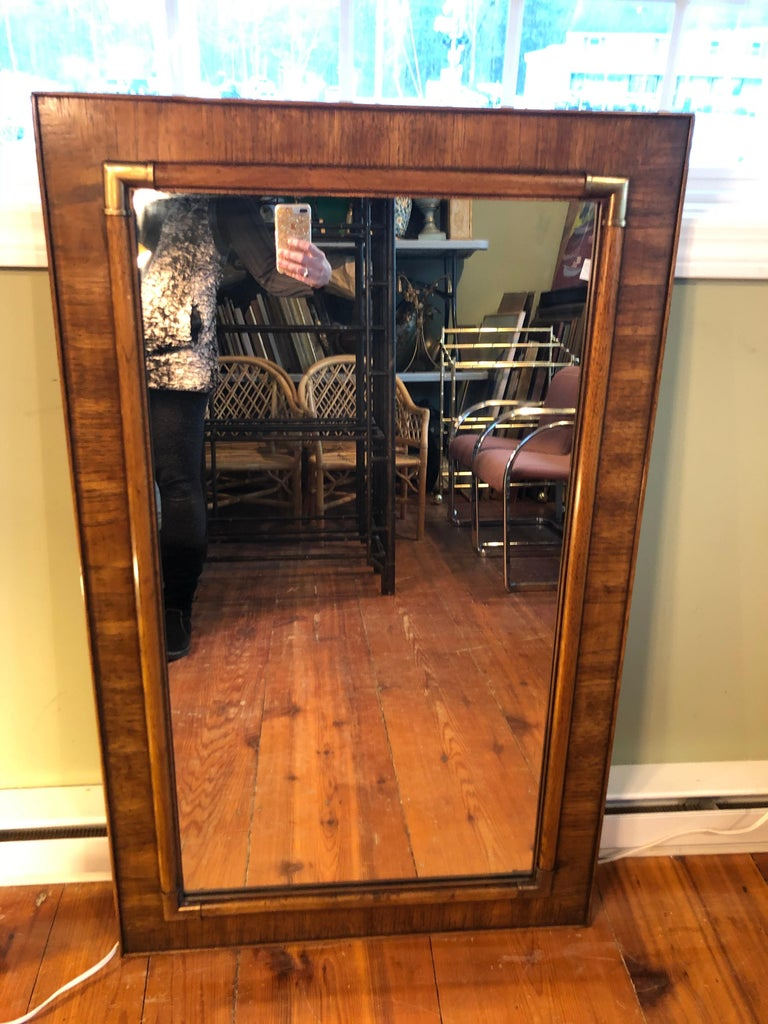 Drexel Heritage Faux Bamboo Mirror with Brass Accents In Good Condition For Sale In Redding, CT