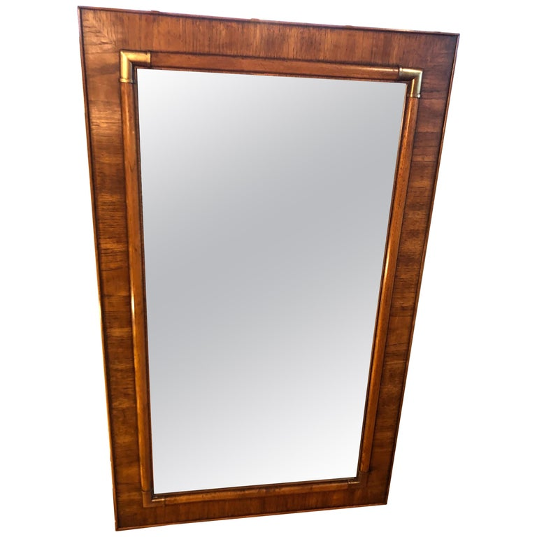 Drexel Heritage Faux Bamboo Mirror with Brass Accents For Sale