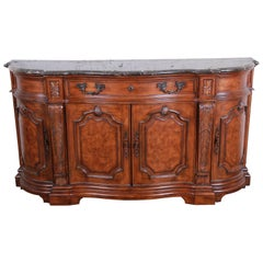 Drexel Heritage French Carved Burled Walnut Marble-Top Sideboard Credenza