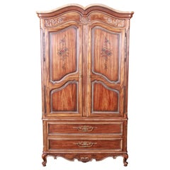 Drexel Heritage French Provincial Louis XV Carved Walnut Armoire Dresser