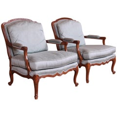 Drexel Heritage French Provincial Louis XV Carved Walnut Bergère Chairs, Pair