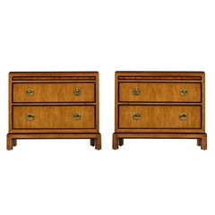 Drexel Heritage Hollywood Regency Burl Wood and Brass Chinoiserie Nightstands