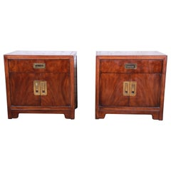 Drexel Heritage Hollywood Regency Campaign Style Burled Walnut Nightstands, Pair