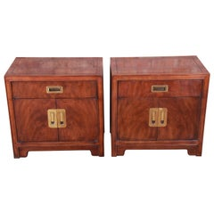 Drexel Heritage Hollywood Regency Chinoiserie Campaign Style Nightstands, Pair