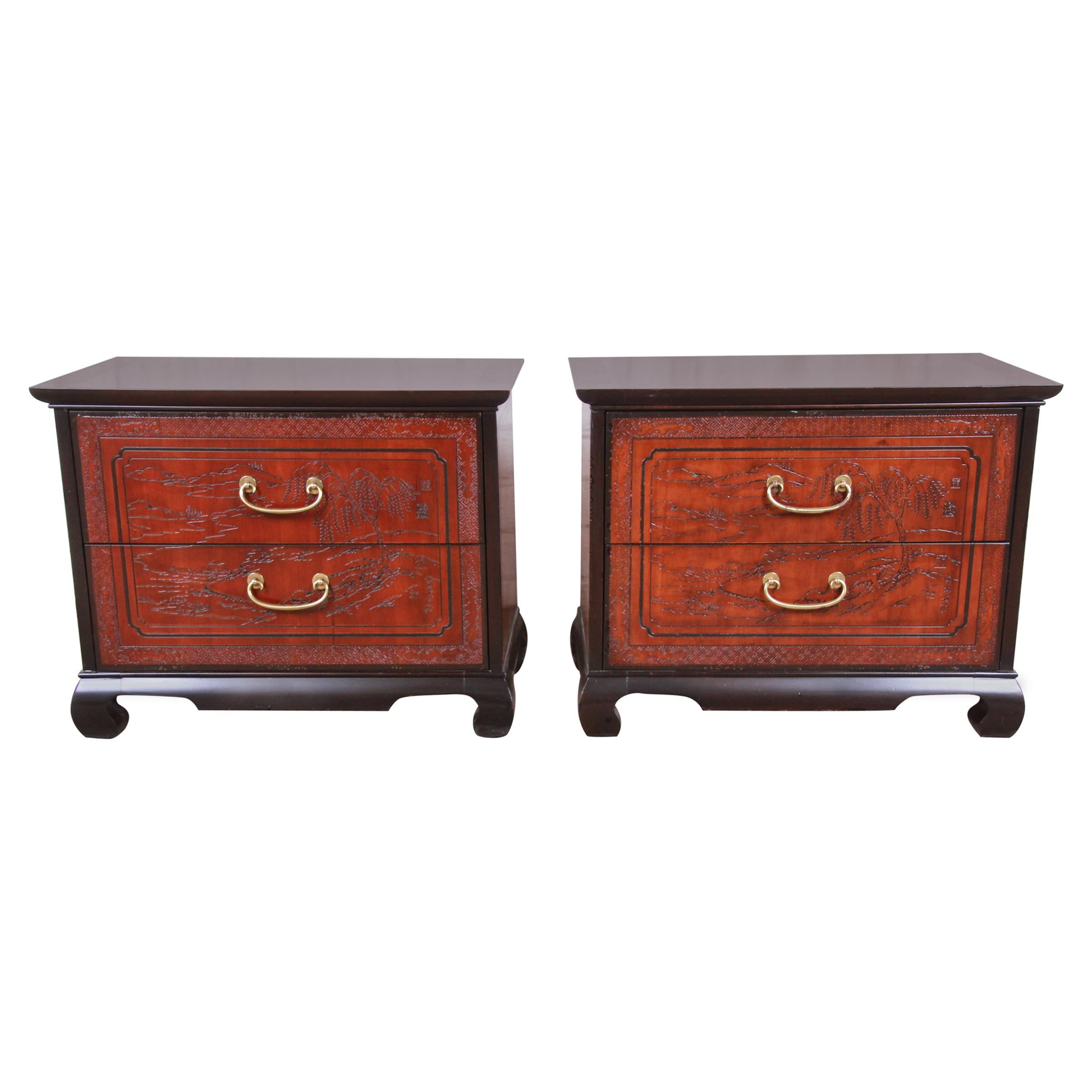Drexel Heritage Hollywood Regency Chinoiserie Mahogany Nightstands, Pair