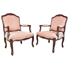 Drexel Heritage Louis XV French Style Bergère Chairs in Light Salmon Velvet
