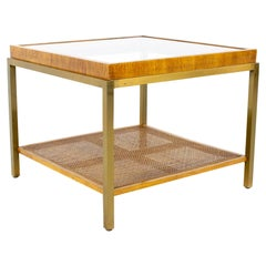 Drexel Heritage Mid Century Brass Cane and Glass Side End Table