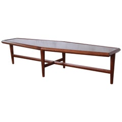 Drexel Heritage Mid-Century Modern Walnut Boat-Shaped Coffee Table, 1961