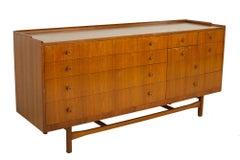 Drexel Heritage Mid Century Walnut and Brass 10 Drawer Lowboy Dresser
