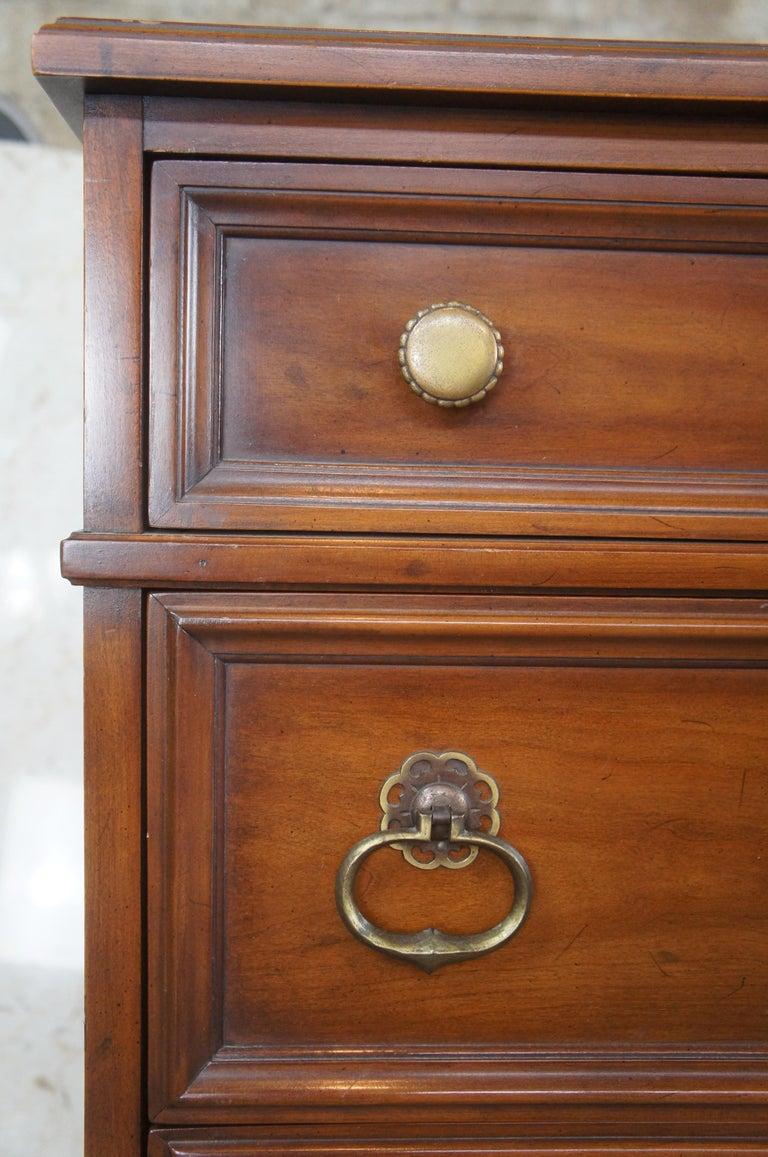 Brass Drexel Heritage Modavanti Mediterranean Fruitwood Triple Dresser Chest of Drawer For Sale