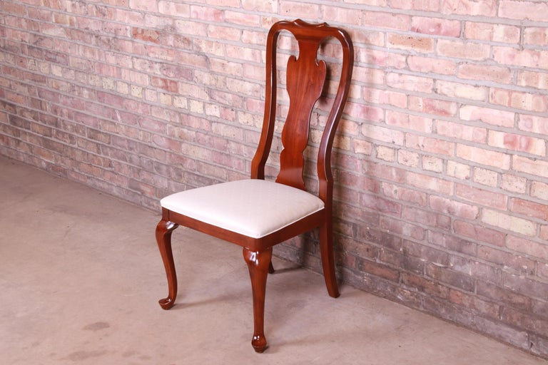 American Drexel Heritage Queen Anne Mahogany Side Chair For Sale