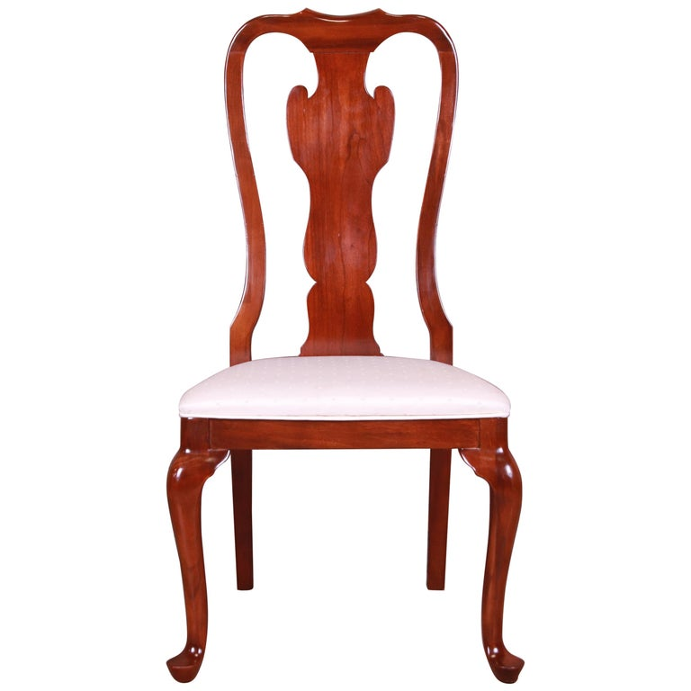 Drexel Heritage Queen Anne Mahogany Side Chair For Sale