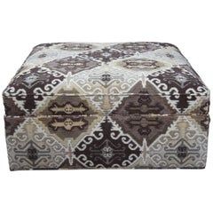 Drexel Heritage Square Geometric Upholstered D94 Rolling Ottoman