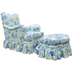 Drexel Heritage Vera Bradley Rolled Arm French Country Lounge Chair & Ottoman