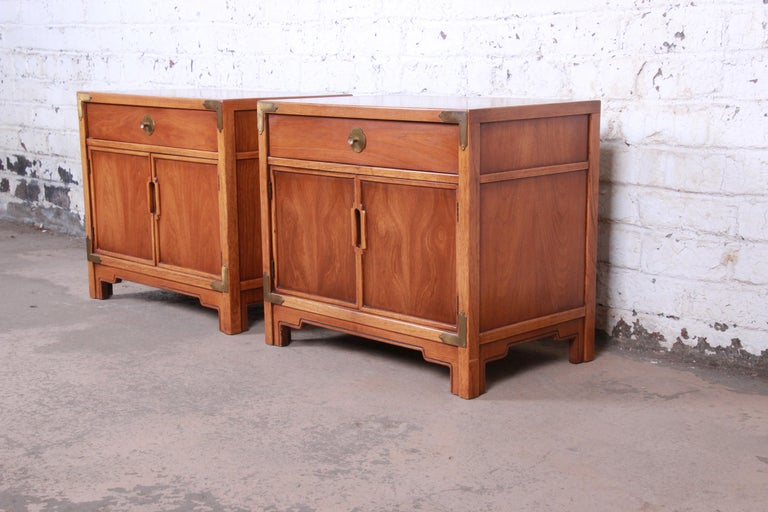 A gorgeous pair of Mid-Century Modern Hollywood Regency chinoiserie nightstands  By Drexel Furniture