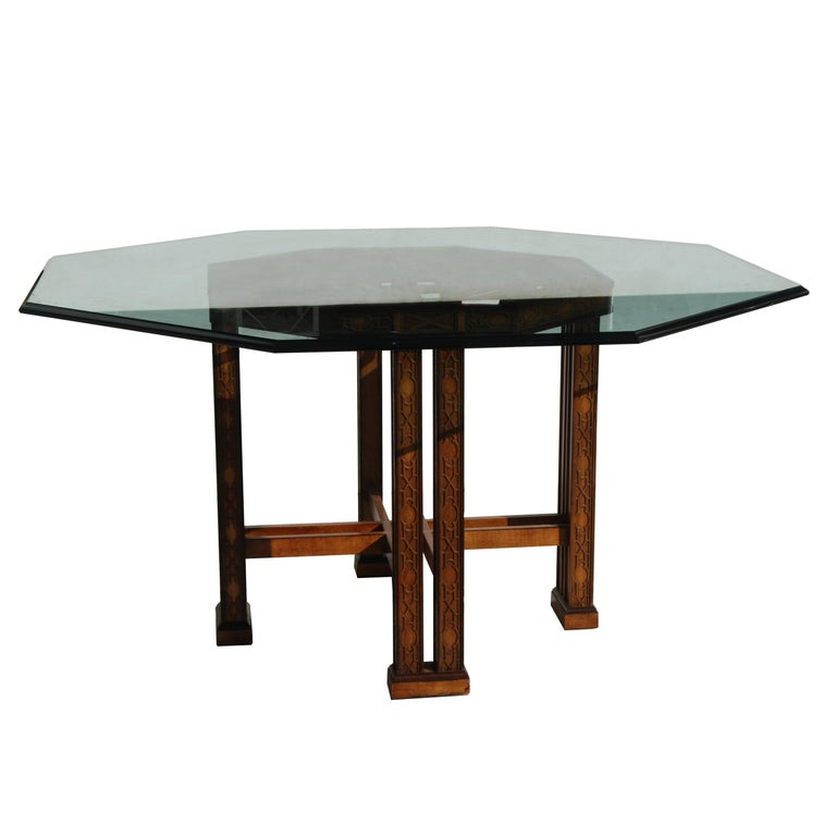 Drexel Heritage 5ft Diameter Intricate Carved Wood Chinoiserie Dining Table For Sale 2
