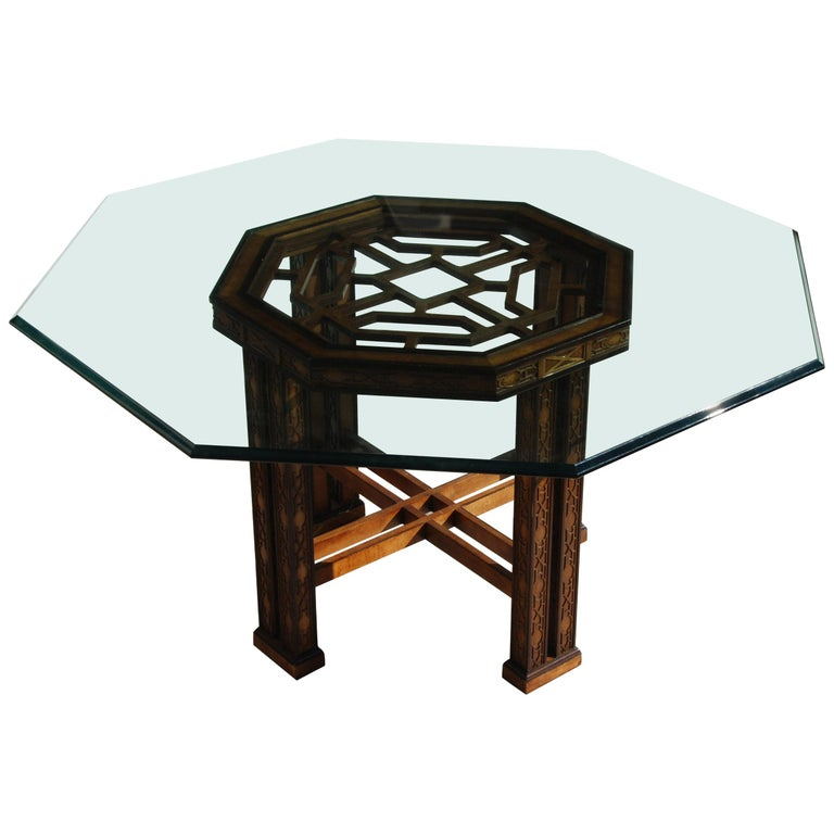 Drexel Heritage 5ft Diameter Intricate Carved Wood Chinoiserie Dining Table For Sale