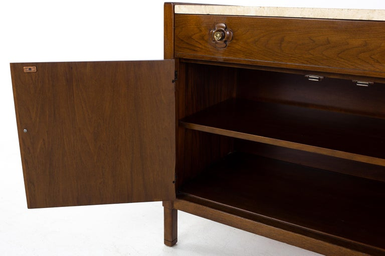 Drexel Mid Century Walnut Travertine Marble and Brass Bar Record Credenza For Sale 4