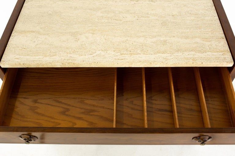 Drexel Mid Century Walnut Travertine Marble and Brass Bar Record Credenza For Sale 5