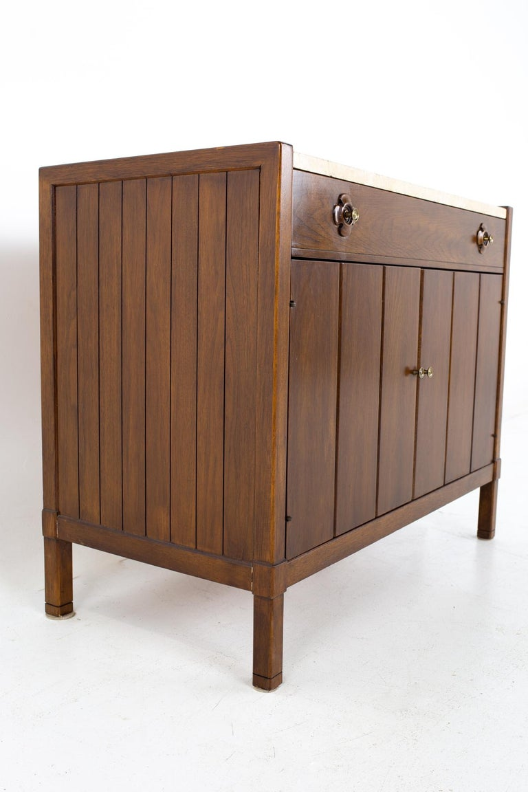 American Drexel Mid Century Walnut Travertine Marble and Brass Bar Record Credenza For Sale
