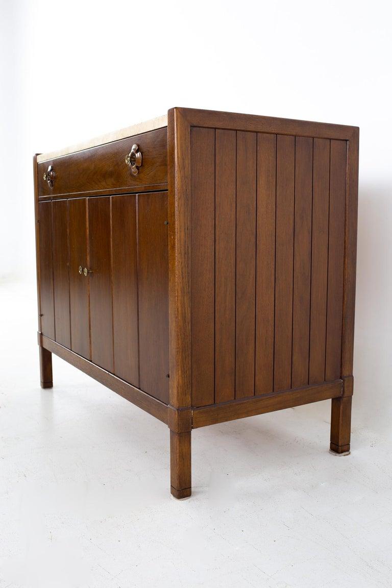 Drexel Mid Century Walnut Travertine Marble and Brass Bar Record Credenza In Good Condition For Sale In La Grange, IL