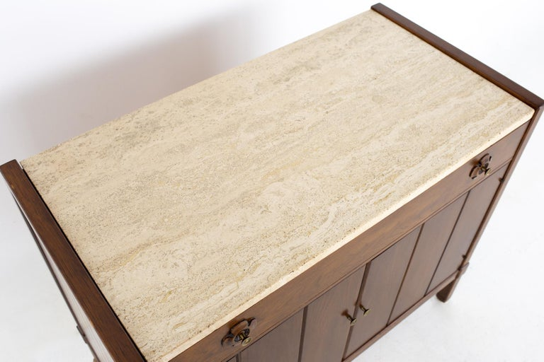 Late 20th Century Drexel Mid Century Walnut Travertine Marble and Brass Bar Record Credenza For Sale