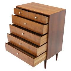 Drexel Oiled Walnut Porcelain Pulls 5 Drawers High Chest Dresser Midcentury