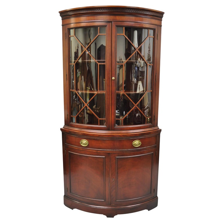 Drexel Vintage Mahogany Bow Front Glass, China Corner Cabinet