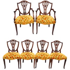 Drexel Wallace Nutting Solid Mahogany Shield Back Dining Room Chairs Set of Six