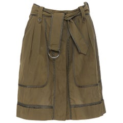 DRIES VAN NOTEN 100% silk khaki green reversed seam design belt tie skirt FR36