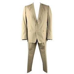 DRIES VAN NOTEN 46 Regular Khaki Cotton Suit