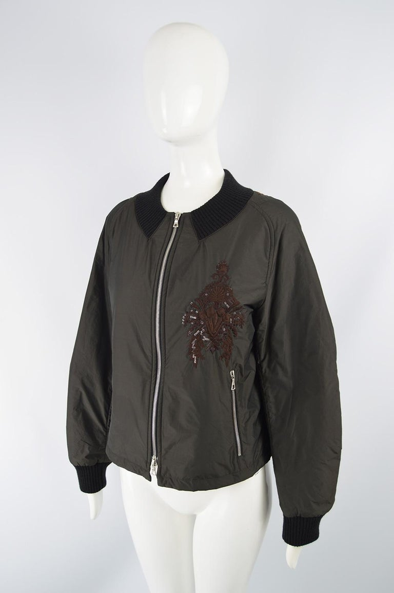 Black Dries Van Noten Architectural Fan Back Embroidered & Sequinned Bomber Jacket