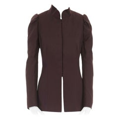 DRIES VAN NOTEN AW15 brown wool cotton princess sleeves chinese mao jacket FR40