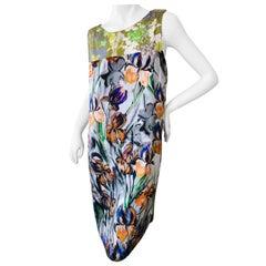 Dries van Noten Bead Embellished Iris Print Silk Dress