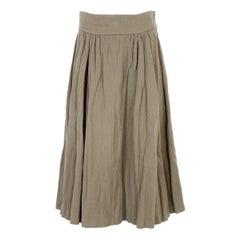 Dries Van Noten Beige Cotton Wool Long Pleated Skirt 1990s