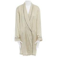 DRIES VAN NOTEN beige striped shawl collar pyjama kimono robe jacket M US6 UK10