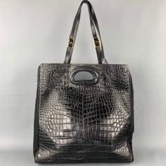 DRIES VAN NOTEN Black Alligator Embossed Leather Canvas Tote Handbag