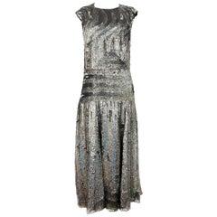 Dries Van Noten Black and Grey Metallic Sequin Evening Dress Size 42