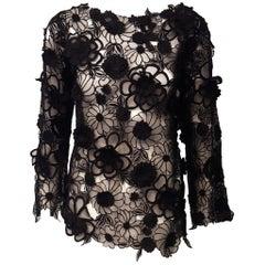 Dries Van Noten Black Floral Applique on Silk with Bateau Neckline Top