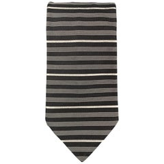 DRIES VAN NOTEN Black & Grey Silk Striped Tie