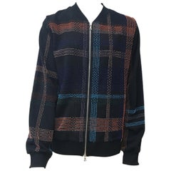 Dries Van Noten Black Knit Bomber Jacket w/ Beading NWT-M
