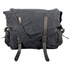 DRIES VAN NOTEN Black Leather Trim Canvas Messenger Bag
