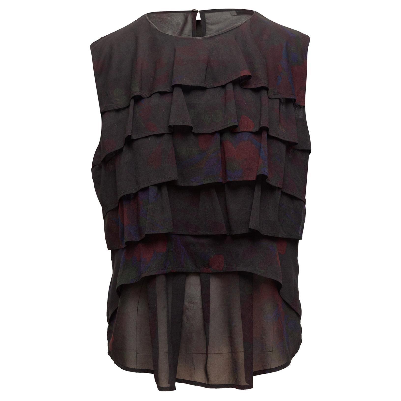 Dries Van Noten Black & Multicolor Silk Tiered Top
