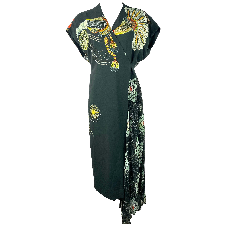 Dries Van Noten Black & Multicolor Wrap Maxi Dress, Size 38