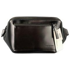 DRIES VAN NOTEN Black Patent Leather Fanny Pack