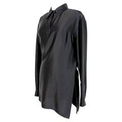 Dries Van Noten Black Shiny Casual Shirt Dress