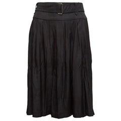 Dries Van Noten Black Silk-Blend Belted Skirt