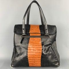 DRIES VAN NOTEN Black & Tan Alligator Embossed Leather Handbag