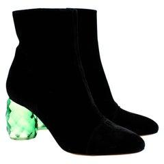 Dries Van Noten Black Velvet Plexi Heel Ankle Boots - Size 40
